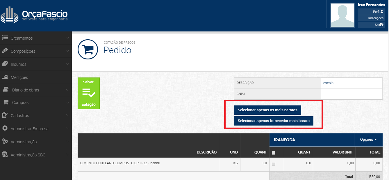 enviar pedido do modulo compras do Orçafascio
