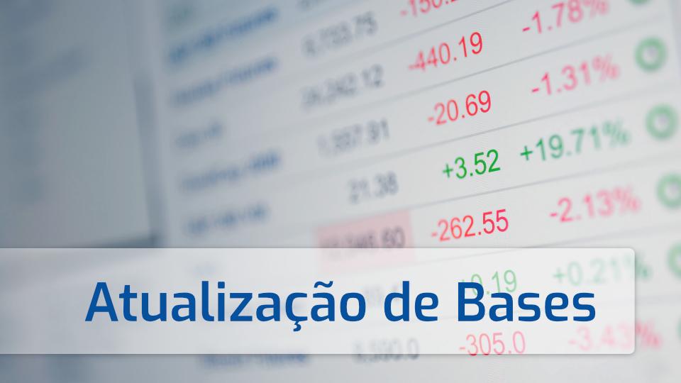 Imagem com tabela financeira e legenda sobre atualizações de bases de preços